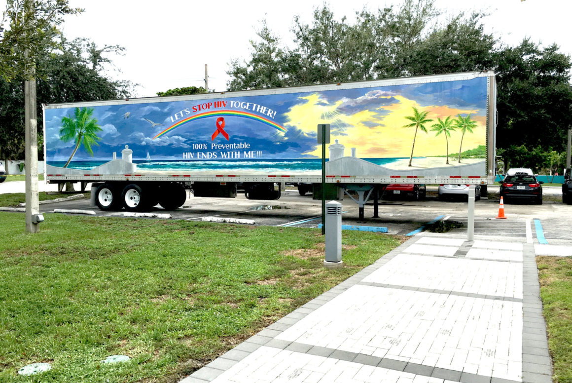 Art to End AIDS mobile mural on semitrailer, project organized by EcoMediaCBS, Florida Department of Health in Broward and Artserve, Florida, 2016