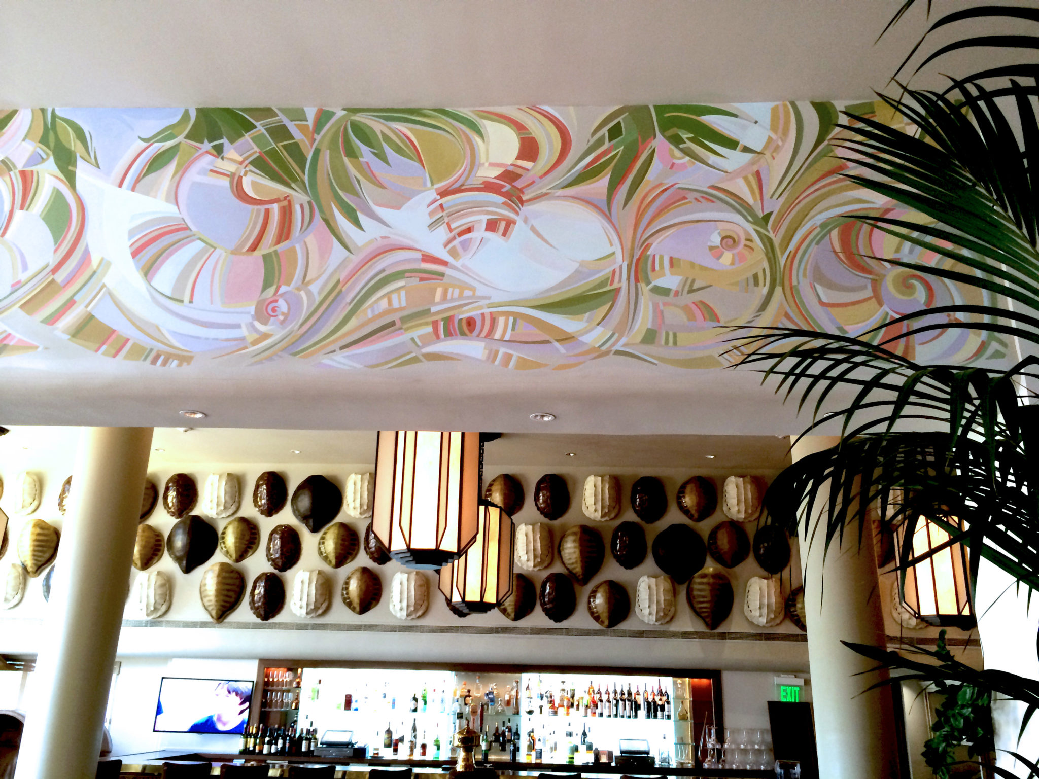 Art deco mural 5 commercial mural tides hotel lobby for Commercial mural painting