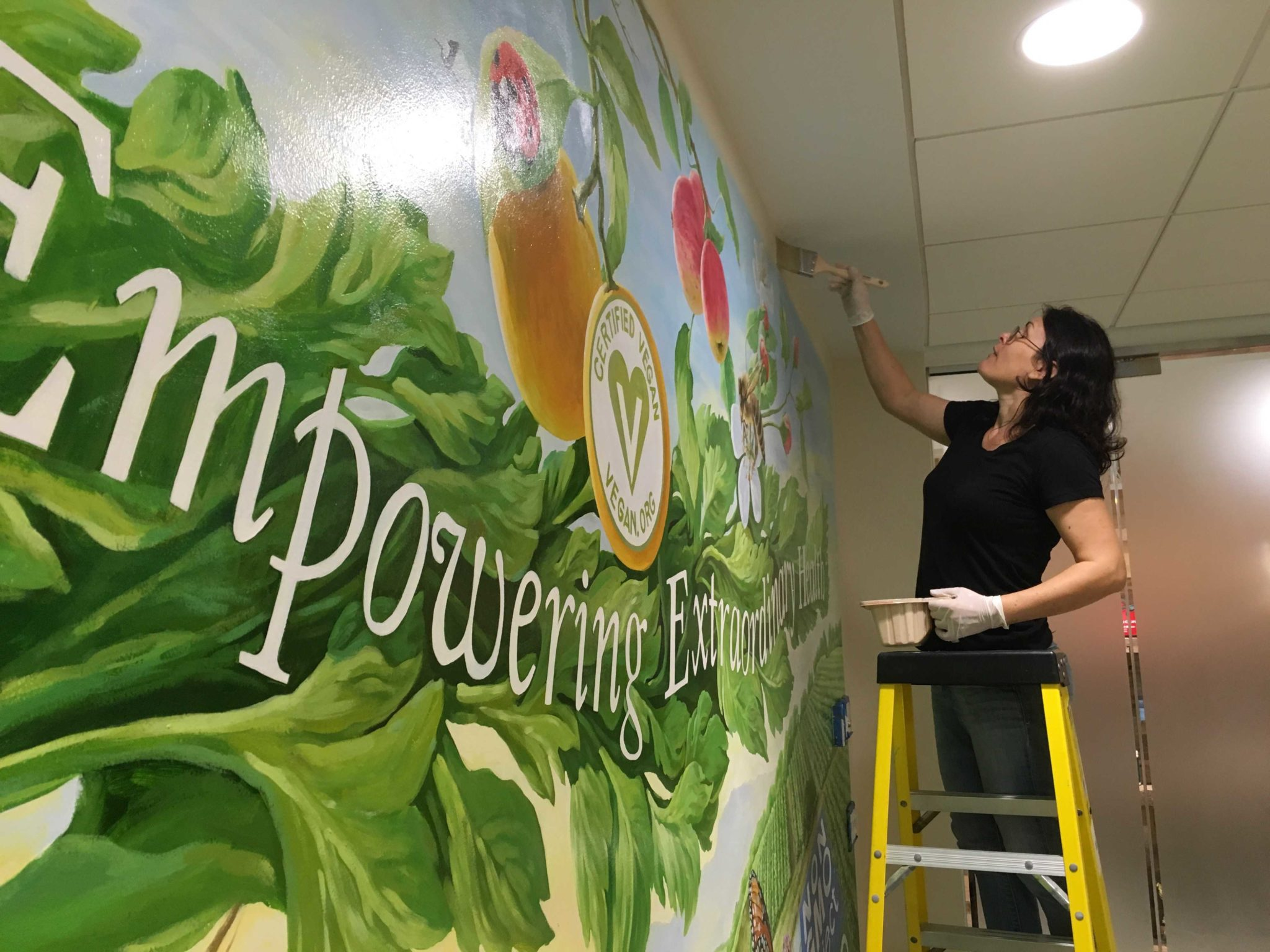South florida mural artist varnishing commercial mural for Commercial mural painting