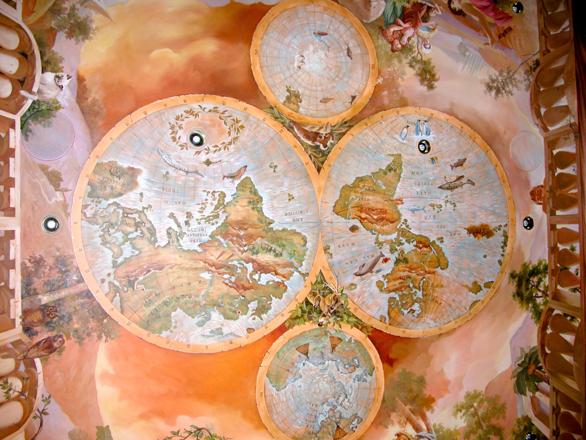 Old World Map Mural.Residential Mural With Old World Map And Classical Balustrade