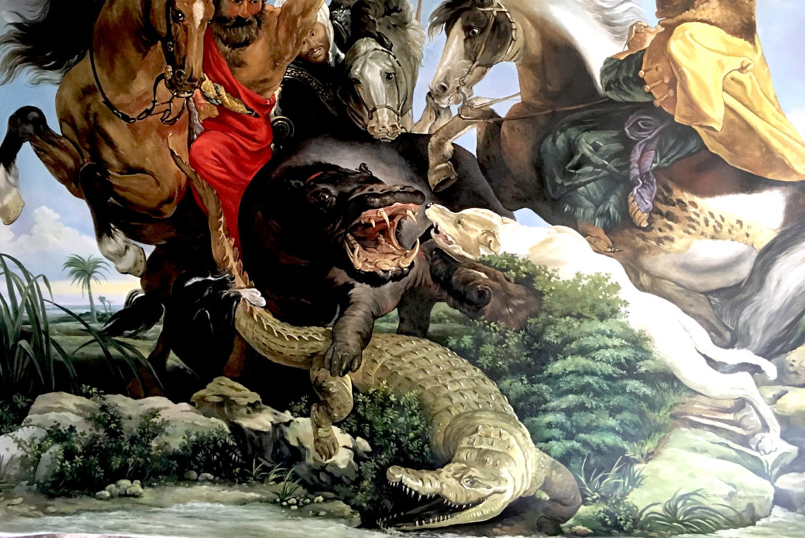 oil mural on canvas with hippopotamus and crocodile being hunted by men and dogs