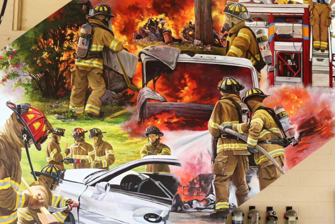 Trompe l'oeil mural with firefighters climbing the ladder to fight a fire and other firefighters trying to open the door of a car in a crush