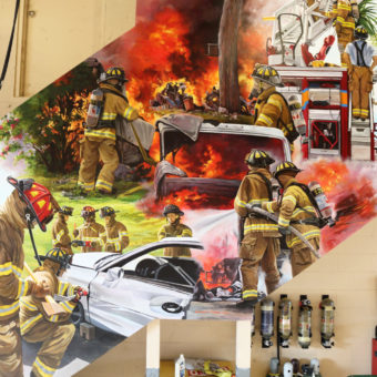 South Florida muralist for hire, Trompe l'oeil mural with firefighters climbing the ladder to fight a fire and other firefighters trying to open the door of a car in a crush