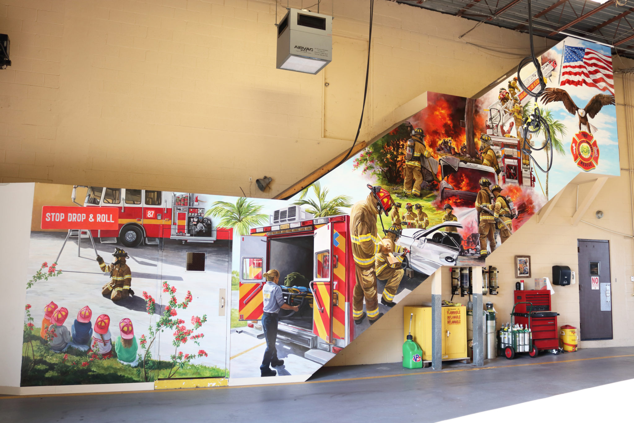South Florida Muralist For Hire, Wall Mural Large Acrylic Mural On Wall  With Firefighters Activities Part 56