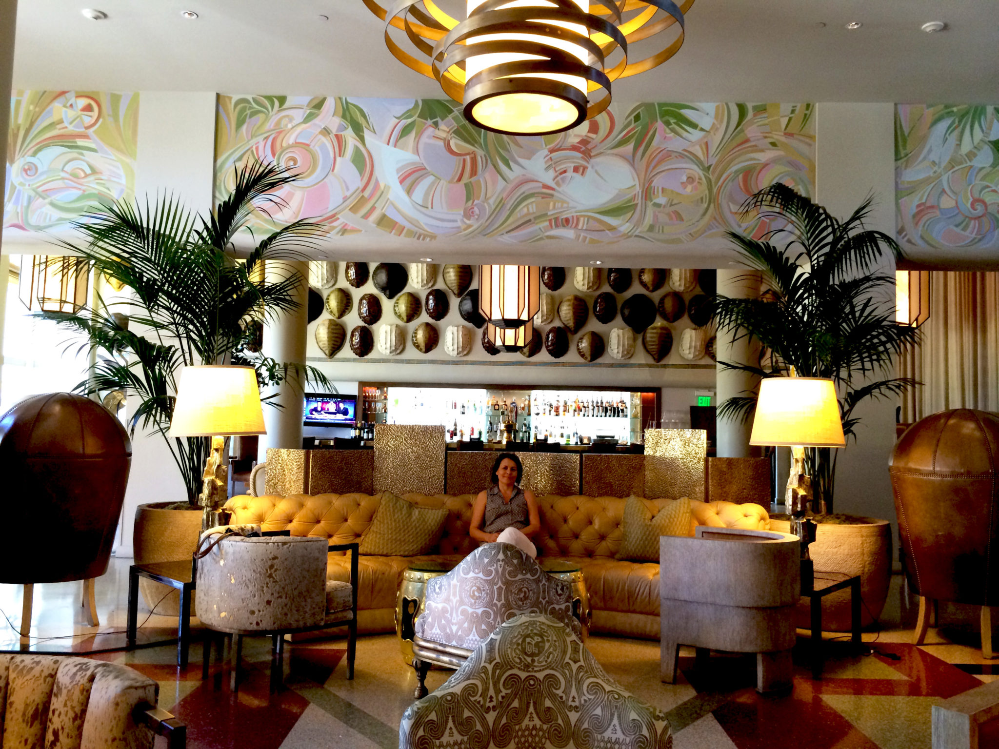 Commercial mural art deco 8 tides hotel lobby miami beach for Commercial mural painting