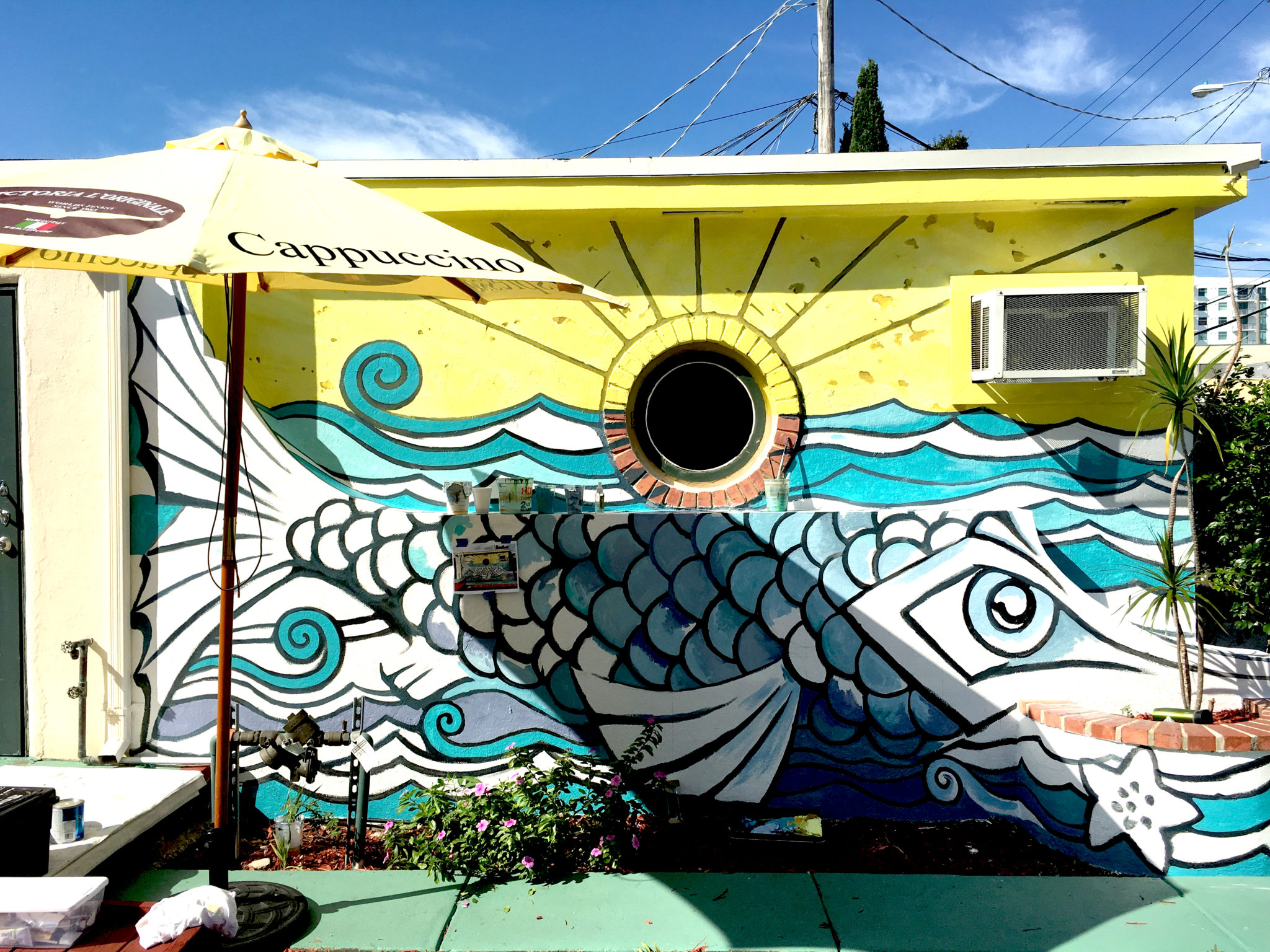 Art deco public mural fish story 6 mural detail outdoor for Downtown hollywood mural project