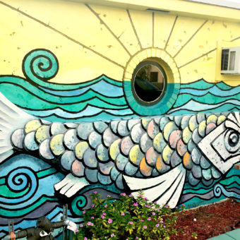 Mural Design. South Florida Muralist. South Florida Mural Artist Georgeta Fondos. Georgeta Fondos' Hand-Painted Murals. Custom Murals. Mural Art. Murals on Wall. Wall Murals. Art Deco Public Mural FISH STORY #3. Mural Detail. Outdoor Mural. Fish Mural. Downtown Hollywood Murals Projects DHMP. Hollywood Murals.