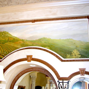 Tuscany Dining Room Mural on Canvas Installed on Wall. Parkland Murals. South Florida Mural Artist Georgeta Fondos. South Florida Muralist. Trompe l'oeil Mural on Wall. South Florida Mural Artist Georgeta Fondos. Georgeta Fondos' Hand-Painted Murals. Custom Murals. South Florida Muralist. Mural Art. Murals on Wall. Wall Murals. Ceiling Murals. Traditional Murals. Classical Murals.