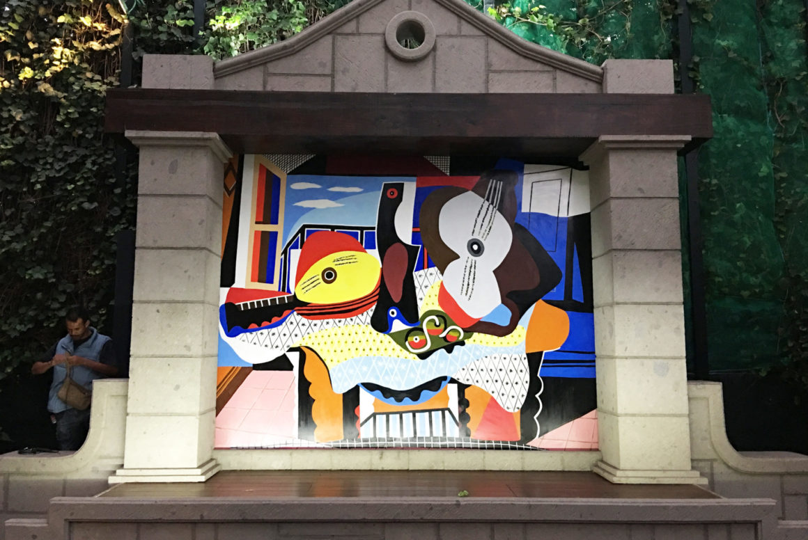 Florida mural artist for hire, residential mural after Guitar and Mandolin by PIcasso, abstract mural, cubist mural, cubism, outdoor mural, colorful mural