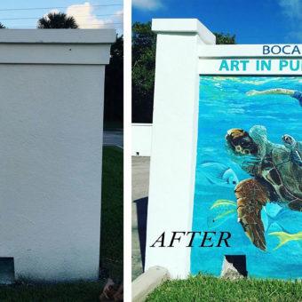 Boca Raton murals, public art murals, the city of Boca Raton, red reef park mural, sea life mural, aquatic mural, mural on wall, large mural, enlarged sea life, fish, mural on wall, Florida murals, south Florida murals, Coral Springs muralist, mural artist, art in public places