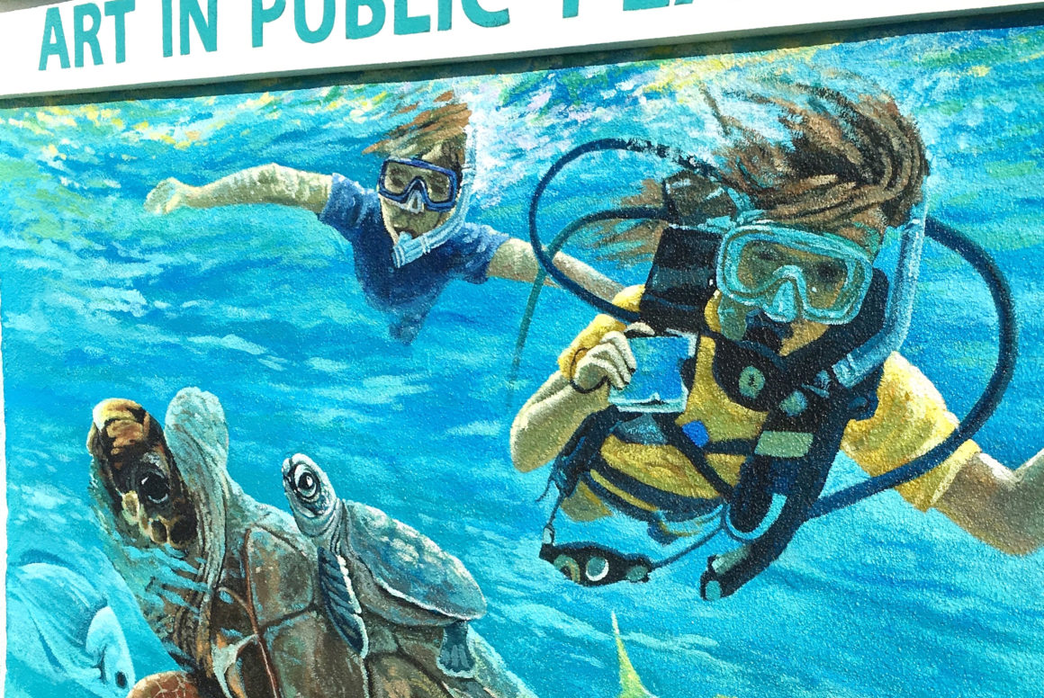Aquatic mural at the Red Reef Park,Raton art in public places