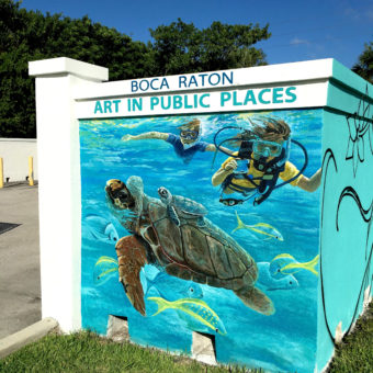 Boca Raton murals, public art murals, the city of Boca Raton, red reef park mural, sea life mural, aquatic mural, mural on wall, large mural, enlarged sea life, fish, mural on wall, Florida murals, south Florida murals, Coral Springs muralist, mural artist