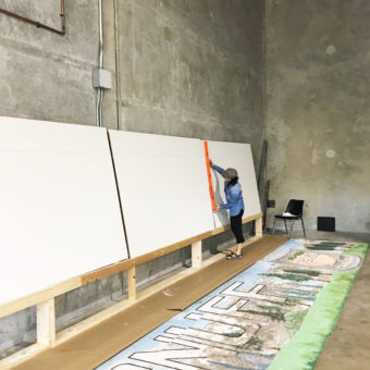 Mural panel, a mural painted anew, mural on wood panels, a mural for the Coral Springs historic covered bridge, peach sweet snuff mural, sweet as a peach mural