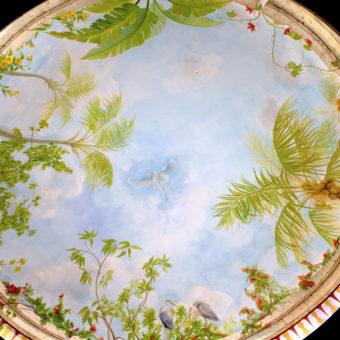 Dome in rotunda mural detail with Florida flora and fauna, palm trees, banana tree, blue heron, egrets, public art mural, South Florida murals
