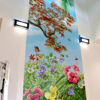 wall mural for the community center, mural with palm tree, royal poinciana, birds, and butterflies