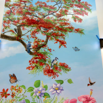 wall mural detail with royal poinciana, flowers, birds, and butterflies
