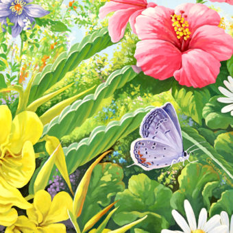 wall mural detail with flowers and butterflies, nature mural