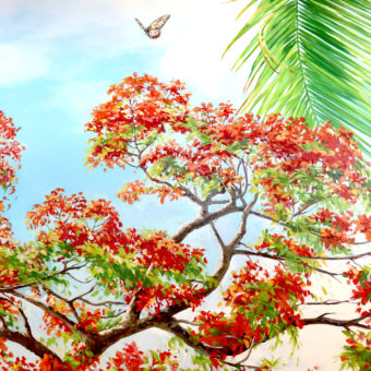 mural on the wall with royal poinciana, birds, and butterflies